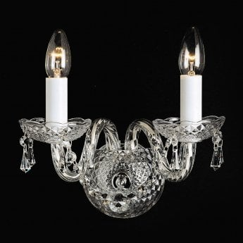 Impex Lighting Modra 2 Lt Georgian Style Crystal Chandelier Trimmed With Strass Crystals Wall Light