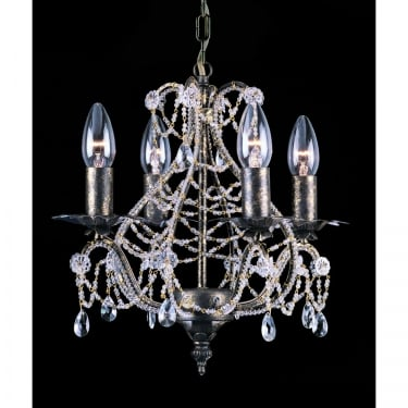 Impex Lighting Montpellier Clear Crystal 4 Lt Pendant Light