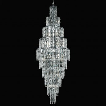 Impex Lighting New York Chrome with Clear Crystal 24 Lt Pendant Light
