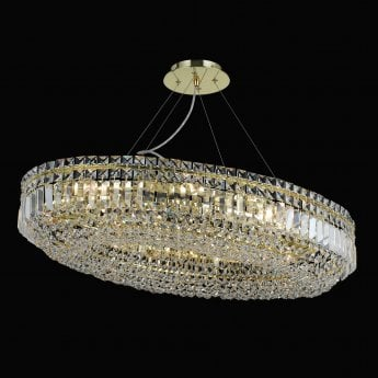 Impex Lighting Olovo Gold with Lead Crystal 12 Lt Pendant Light