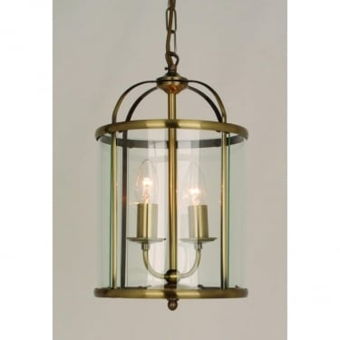 Impex Lighting Orly Antique Brass 2Lt Indoor Lantern (LG77132/AB)