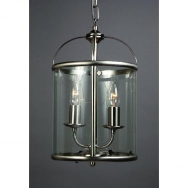 Impex Lighting Orly Satin Nickel 2 Lt Lantern