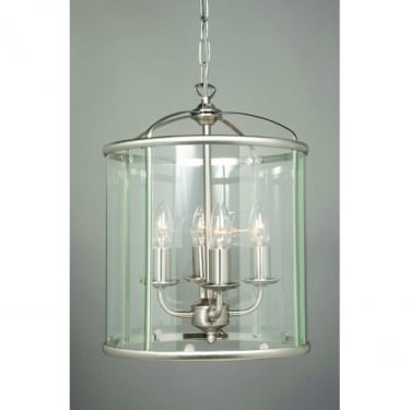 Impex Lighting Orly Satin Nickel 4 Lt Lantern