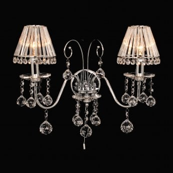 Impex Lighting Perpignan Chrome with Lead Crystal 2 Lt Wall Light