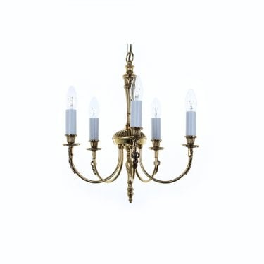 Impex Lighting Richmond Polished Brass 5Lt Indoor Multi-Arm Pendant Light (SMBB00015A/PB)