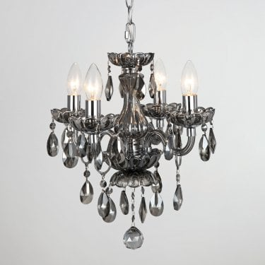 Impex Lighting Rodeo Smoked Crystal 4 Lt Pendant Light