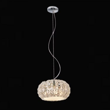 Impex Lighting Rome Chrome with Clear Crystal 3 Lt Pendant Light