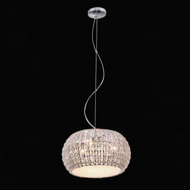 Impex Lighting Rome Chrome with Clear Crystal 6 Lt Pendant Light