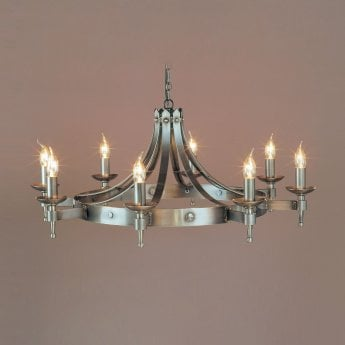Impex Lighting Saxon 8 Light Sterling Iron Pendant Light