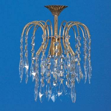 Impex Lighting Shower 1 Light Gold Crystal Strass Chandelier With Heritage Prisms