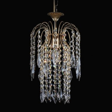 Impex Lighting Shower 1 Light Gold Crystal Strass Long Chain Chandelier With Hertiage Prisms