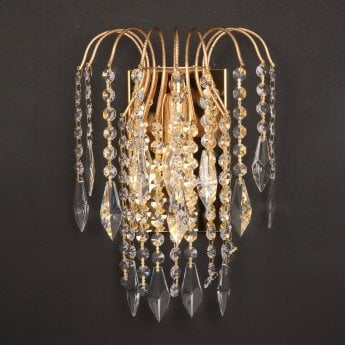 Impex Lighting Shower 1 Light Gold Crystal Strass Long Chain Wall Light