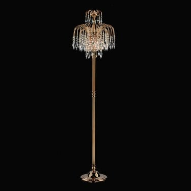 Impex Lighting Shower 3 Light Gold Crystal Strass Floor Lamp With Heritage Prisms