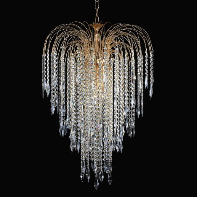 Impex Lighting Shower 6 Light Gold Crystal Strass Long Chain Chandelier With Hertiage Prisms