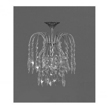 Impex Lighting Shower Strass Nickel 1Lt Flush Pendant Light
