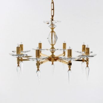 Impex Lighting Sorrento 8 Light Spare Gold Chandelier With K9 Optic Glass