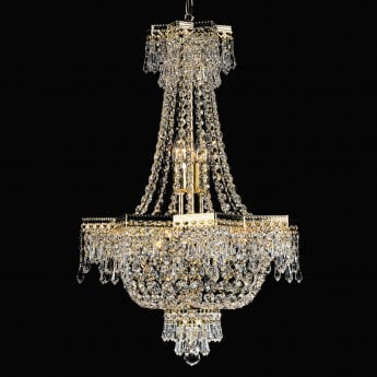 Impex Lighting Star 5 Light Gold Plated Empire Crystal Strass Chandelier