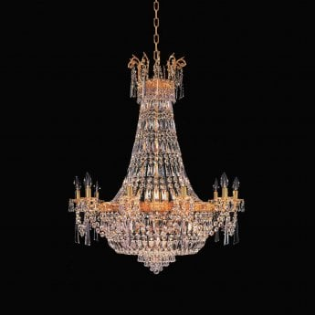 Impex Lighting Starlite Berlin 14 Light Gold Empire Strass Crystal Chandelier