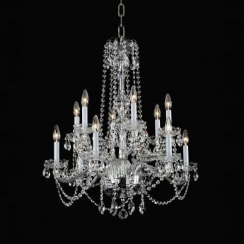 Impex Lighting Stella 12 Lt Beaded Clear Glass Chandelier
