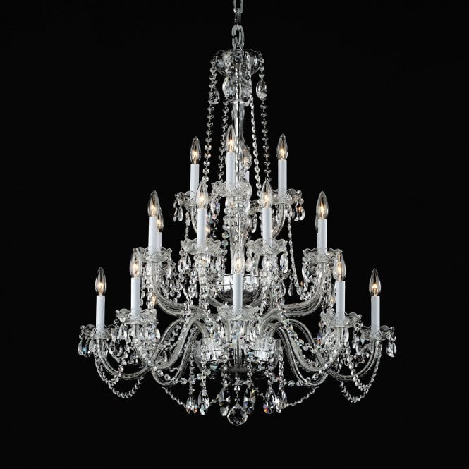 Impex Lighting Stella 20 Lt Beaded Clear Glass Chandelier