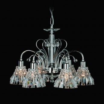 Impex Lighting Strasbourg Chrome with Lead Crystal 5 Lt Pendant Light