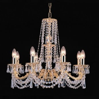 Impex Lighting Stuttgart 8 Light Strass Cast Brass Gold Plated Chandelier