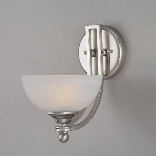 Impex Lighting Texas Satin Nickel 1Lt Indoor Wall Light with White Alabaster Glass (PG00532/01/WB)