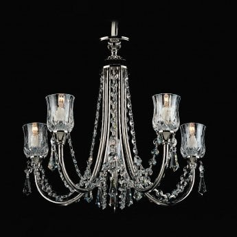 Impex Lighting Tulip 5 Light Mini Halogen Crystal Nickel Chandelier