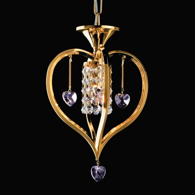 Impex Lighting Valentine 1 Light Coloured Lead Crystal Gold Pendant Light