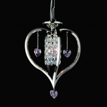 Impex Lighting Valentine 1 Light Coloured Lead Crystal Nickel Pendant Light
