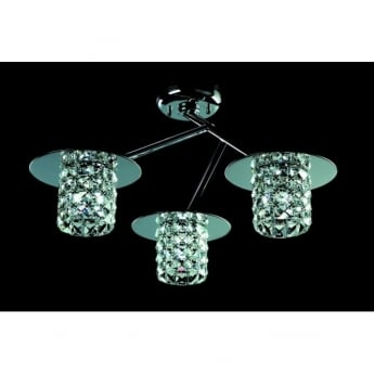 Impex Lighting Veta Chrome with Clear Crystal 3 Lt Flush Ceiling Light