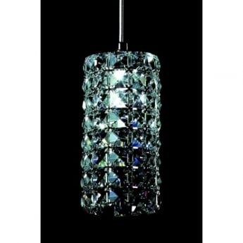 Impex Lighting Veta Chrome with Clear Crystal Pendant Light