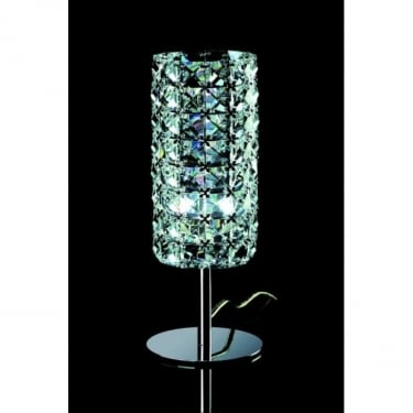 Impex Lighting Veta Chrome with Clear Crystal Table Lamp