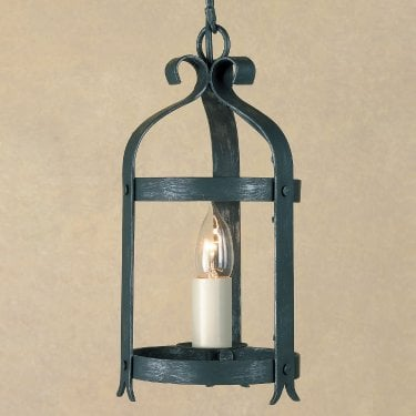 Impex Lighting Villa 1 Light Antique Black Iron Lantern