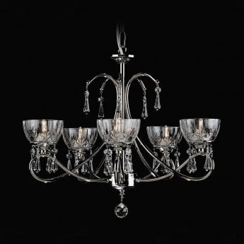 Impex Lighting Vincenza 5 Light G9 Nickel Chandelier With Lead Crystals