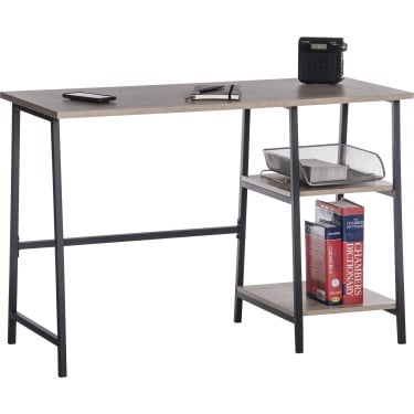 Industrial Style Charter Oak Bench Desk with Black Metal Frame