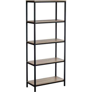 Industrial Style Charter Oak Bookcase with Black Metal Frame