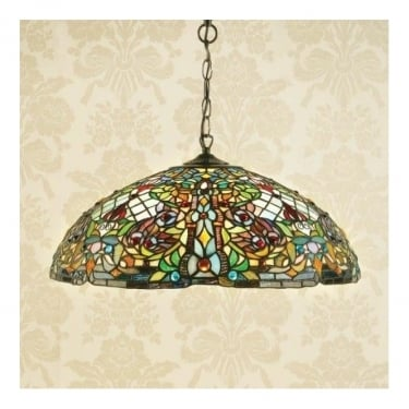 Interiors 1900 Anderson 3Lt Tiffany Style Glass & Dark Bronze 60W Large Pendant Light (63902)