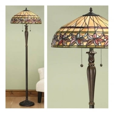 Interiors 1900 Ashtead Tiffany Style Glass 2Lt Indoor Floor Light with Dark Bronze Trim (63912)