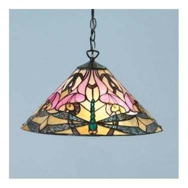 Interiors 1900 Ashton 1Lt Tiffany Style Glass & Dark Bronze 60W Pendant Light (63923)