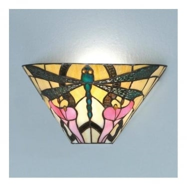 Interiors 1900 Ashton 1Lt Tiffany Style Glass & Matt Black 40W Wall Light (63926)