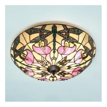 Interiors 1900 Ashton 2Lt Tiffany Style Glass & Dark Bronze 60W Flush Light (63922)