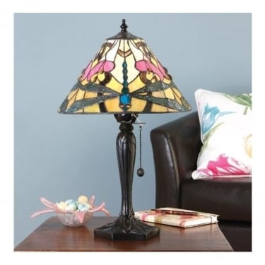 Interiors 1900 Ashton Tiffany Style Glass 1Lt Indoor Table Lamp with Dark Bronze Trim (63924)