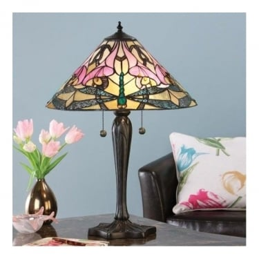 Interiors 1900 Ashton Tiffany Style Glass 2Lt Indoor Table Lamp with Dark Bronze Trim (63925)