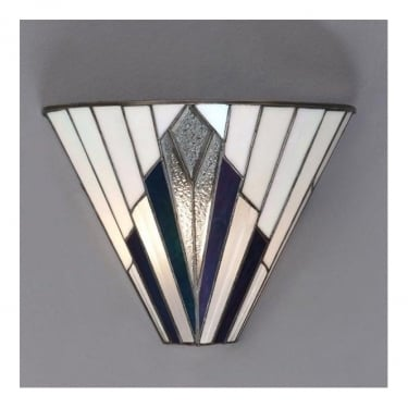 Interiors 1900 Astoria 1Lt Tiffany Style Glass & Matt Black 40W Wall Light (63940)