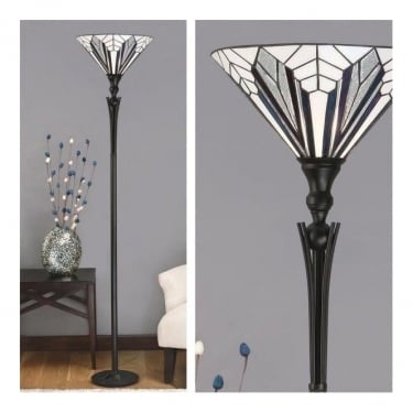 Interiors 1900 Astoria 1Lt Tiffany Style Glass & Satin Black With Iridised Glass Inserts 60W Floor Light (63933)