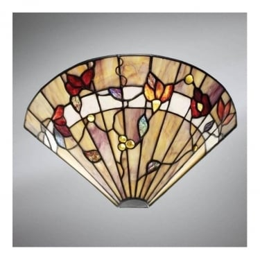 Interiors 1900 Bernwood 1Lt Tiffany Style Glass & Matt Black 40W Wall Light (63952)