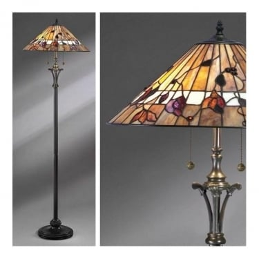 Interiors 1900 Bernwood 2Lt Tiffany Style Glass & Dark Bronze 60W Floor Light (63946)