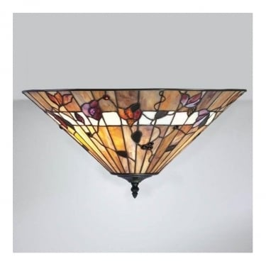 Interiors 1900 Bernwood 2Lt Tiffany Style Glass & Dark Bronze 60W Flush Light (63948)