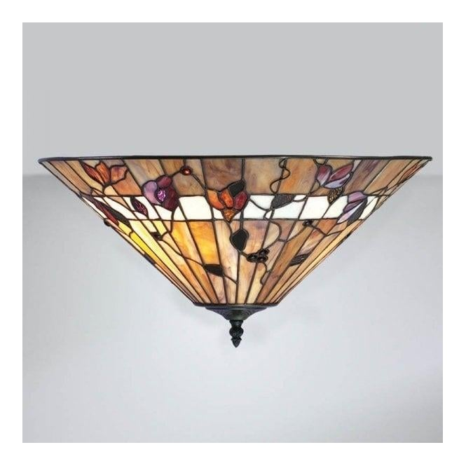 Interiors 1900 Bernwood Tiffany Glass Flush Ceiling Light